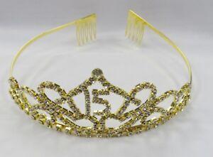 Gold-Clear-Rhinestone-Crystal-QUINCEANERA-15-Birthday-Girl-Tiara-Crown
