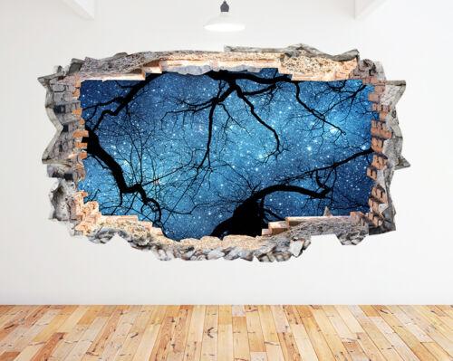 N495 oscuro árboles cielo estrellado rompía la etiqueta de la pared 3D Art Stickers Vinyl Habitación