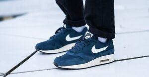 Nike-Air-Max-1-Premium-Navy-Men-039-s-Shoes-Lifestyle-Sneakers