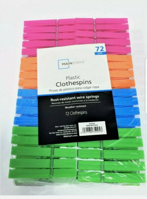 Main Stays 72 Plastic Clothes Pins Rust Weather resistant wire springs