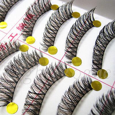 10Pairs Cross False Eyelashes Makeup Natural Fake Thick Black Eye Lashes K20E