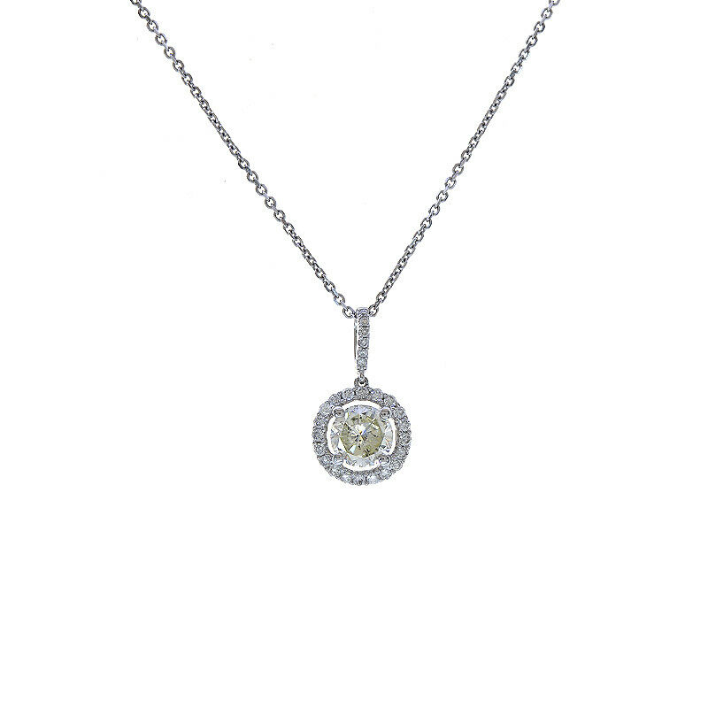 42a2d802a4345 On gold White 18K Pendant Diamond 1.20 14K Carat Chain Cable gold ...