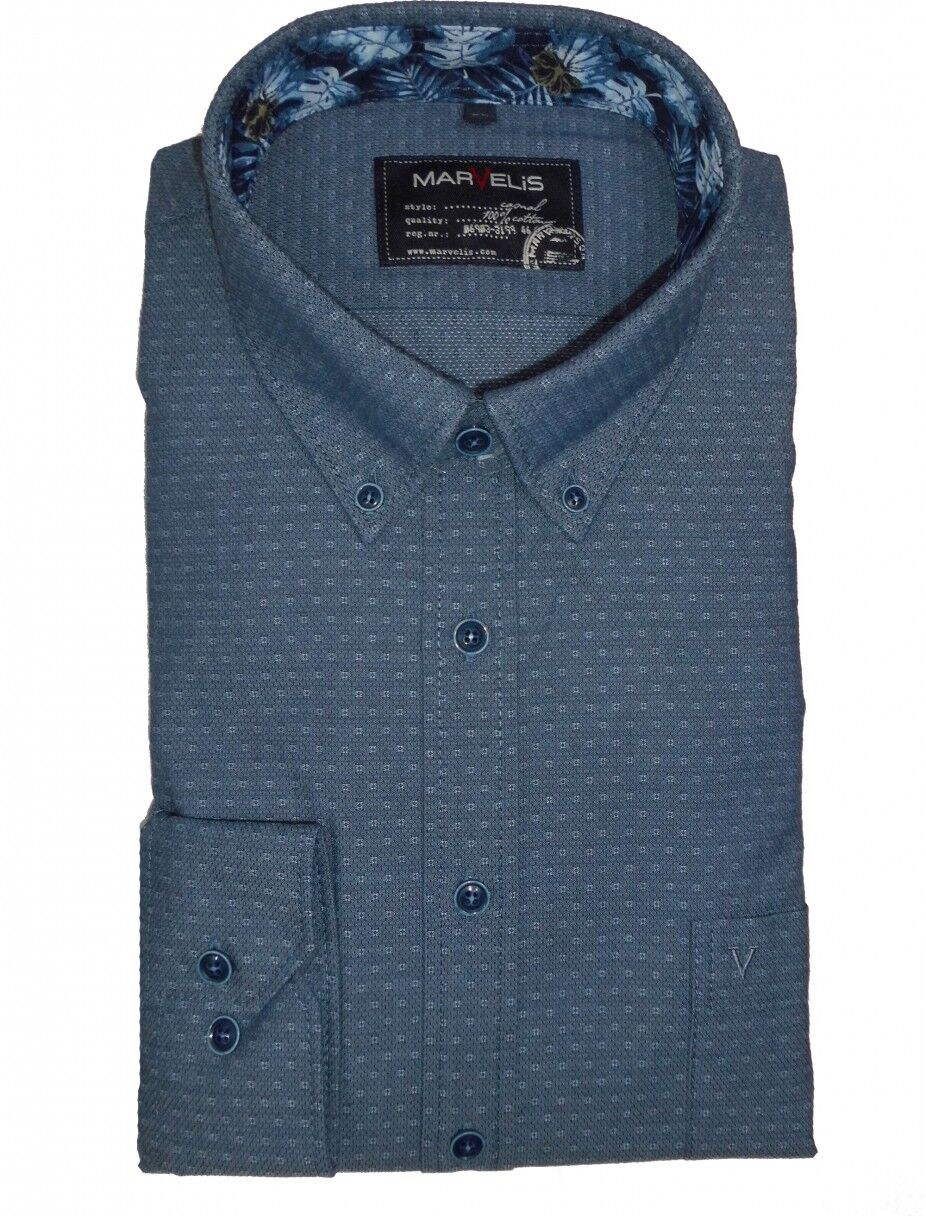 Marvelis Freizeithemd Hemd Casual Langarm blue gemustert 6034.14.18