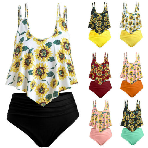 Women Sun Flower Print Tops Ruffled High Waisted Bikini Set Swimwer Bathing KE