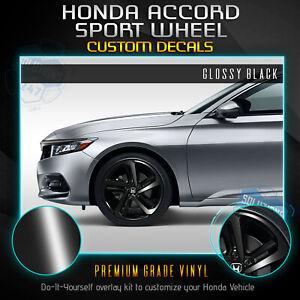 Fit 18-20 Accord Sport Wheel Chrome Delete Overlay Blackout Pre Cut Gloss Black