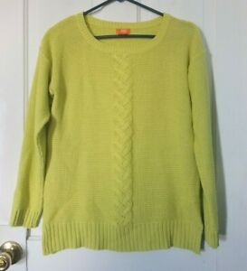Details about Joe Fresh yellowgreen cable knit sweater, size small