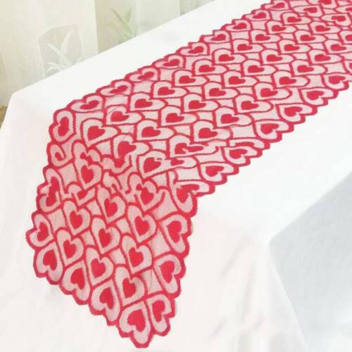 Red Lace Table Runner Table Flag Tablecloth Table Cloth Wedding Party Decor FM