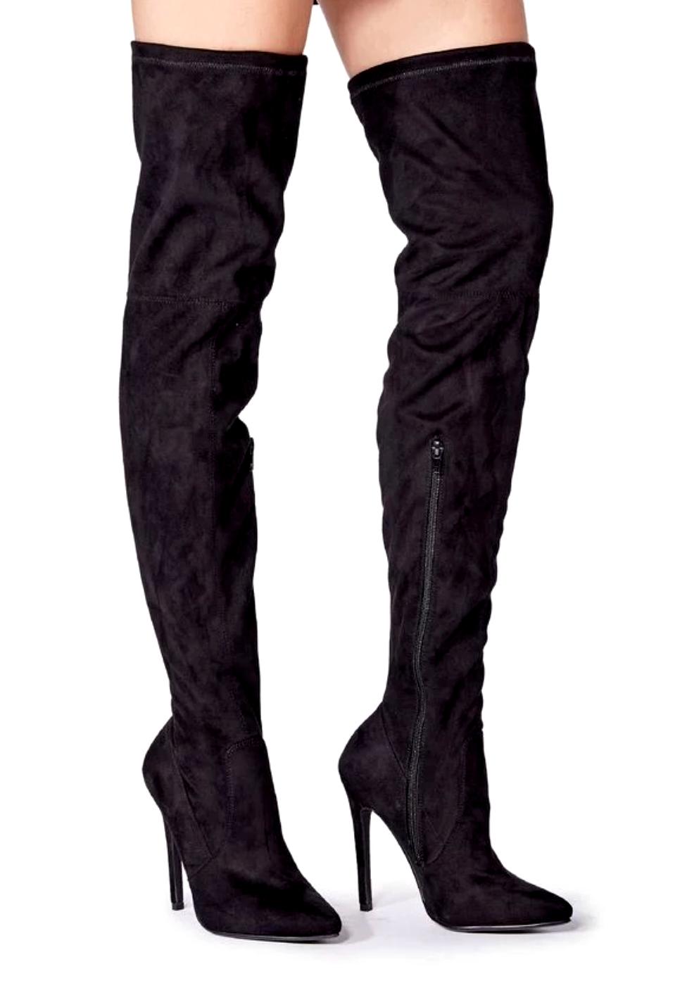 JustFab Camden femme UK 6 velours noir talon haut stiletto dessus genou bottes cuissardes