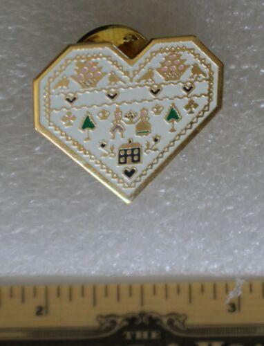 White Heart Sampler Motifs Cloisonne Lapel Pin