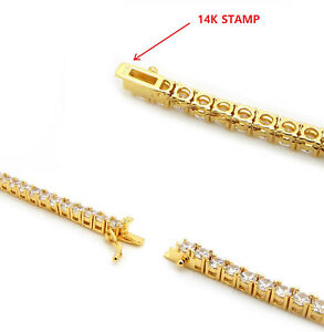 Image Is Loading Men 039 S Tennis Chain Necklace 14K Gold
