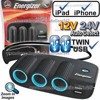 Energizer 50505 12v 24v Twin USB Car Lighter Triple Multi Socket Adaptor Charger