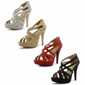 Womens-Ladies-Strappy-High-Heel-Platform-Peep-Toe-Glitter-Shoes-Sandals-Size-UK