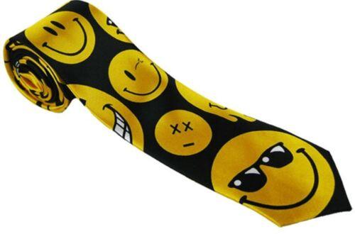 fun novelty smiley face silky skinny tie fancy dress unisex