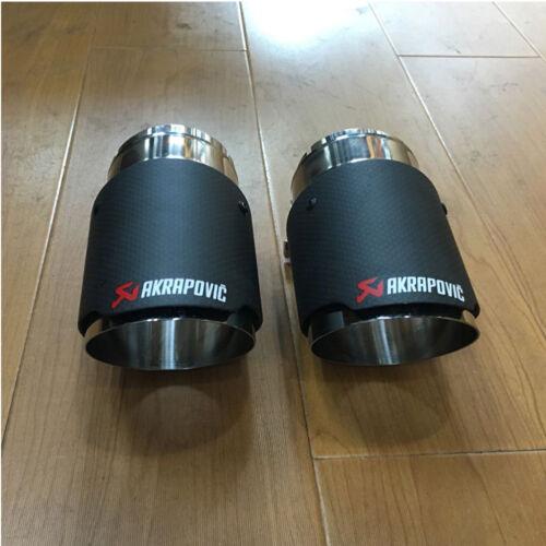 2pcs Muffler Rear Tail Pipe Car Akrapovic Carbon Fiber 67mm-101mm Exhaust Tips