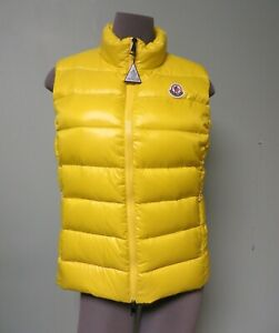 Moncler AUTH NEW Logo Medium Yellow Vest 3 Quilted Down Ghany Gilet Jacket