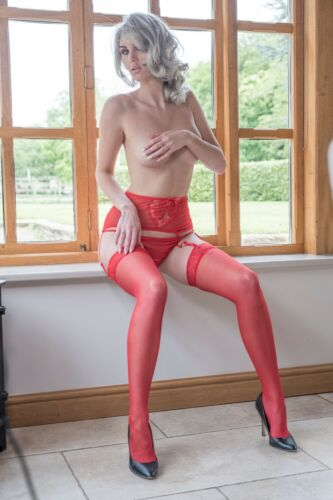 Red Womens Suspender Belt AND Garters Stockings Wide lace silky with thong