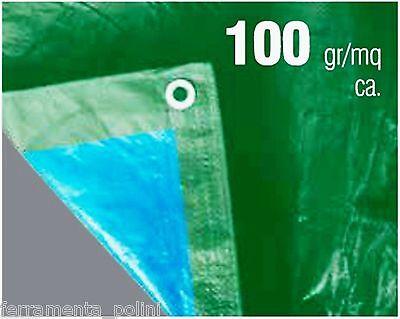TELO OCCHIELLATO VERDE/BLU - ANTISTRAPPO - IMPERMEABILE in polietilene 100gr/mq