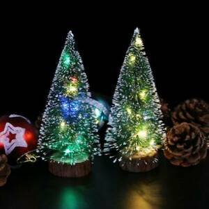 LED-Mini-Sisal-Christmas-Trees-Ornament-Snow-Frost-Small-Pine-Tree-XMAS-Decors