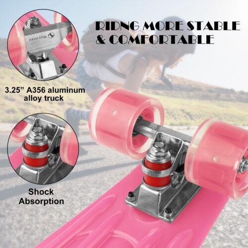 22 Kids Penny Board Mini Cruiser Flashing LED Wheel Complete Skateboard 6 Colors