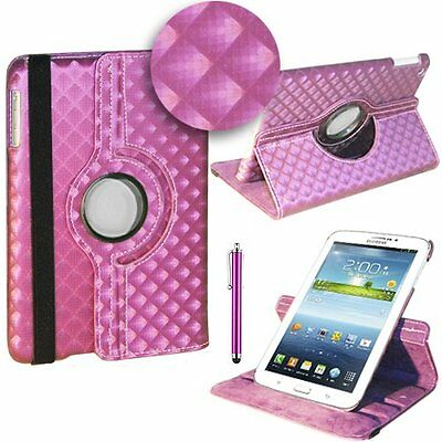 "360° ROTATING DIAMOND PU LEATHER CASE FOR SAMSUNG GALAXY TAB 3. 7"" TABLET  P3200"