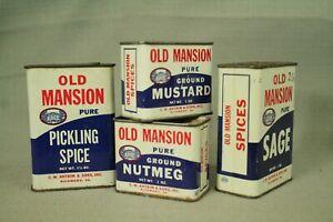 lot-4-vintage-Old-Mansion-tins-Pickling-Spice-Sage-Mustard-Nutmeg-red-white-blue