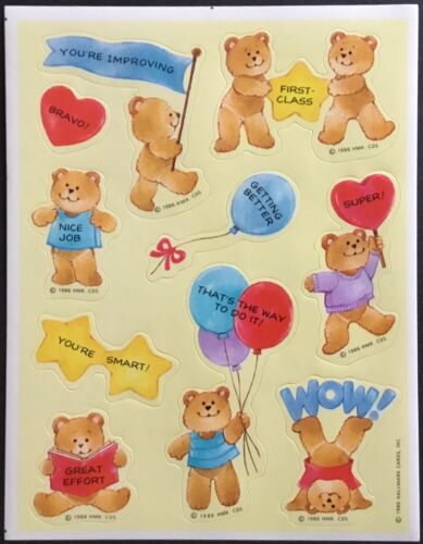 Vintage Hallmark Stickers Dated 1986 Smart Teddy Bears