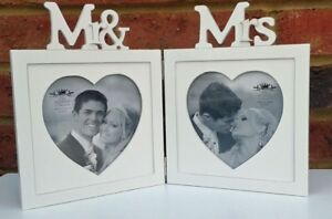Wedding-Photo-Frame-White-Heart-Double-Shabby-Chic-Fits-5-034-x-5-034-Picture-Gift-New