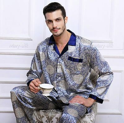 Mens Silk Satin Pajamas Pyjamas Sets Sleepwear Set Loungewear S M L XL 2XL 3XL