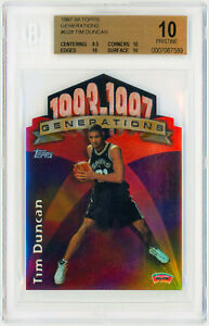 TIM-DUNCAN-Rookie-Card-RC-1997-Topps-Generations-G28-Perfect-BGS-10-Pristine