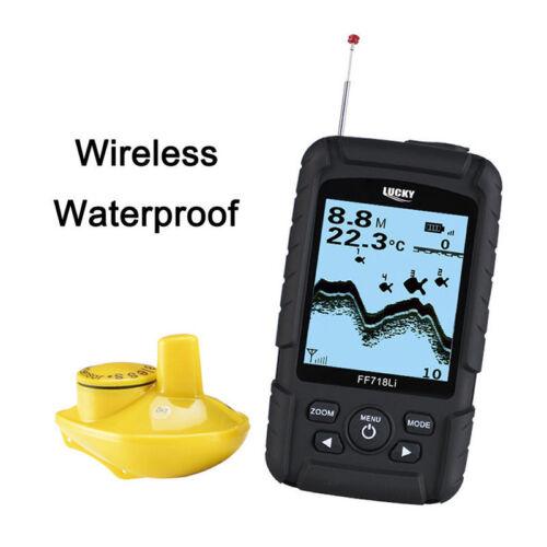 GLÜCKLICH FF718Li-W tragbarer Fischfinder Wireless 45M Echolot Fishfinder