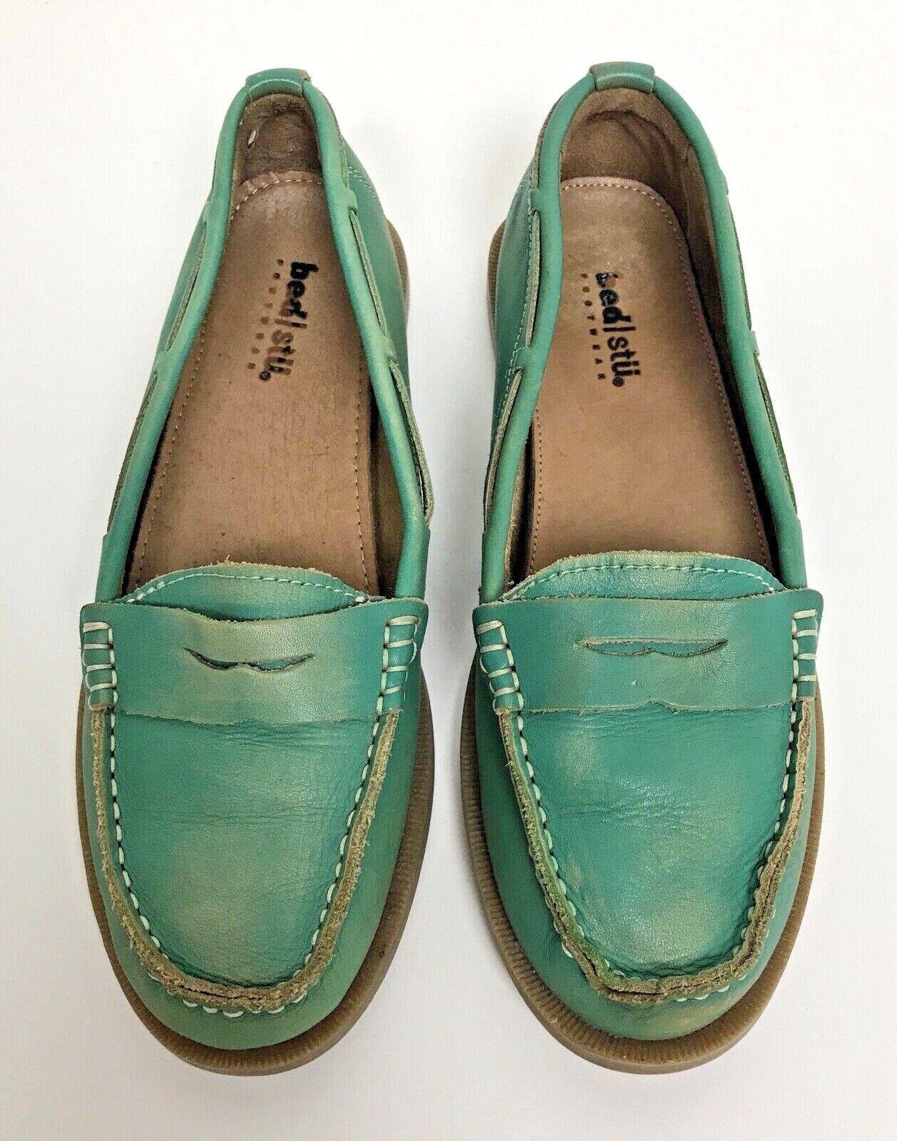 Bed Stu Womens Sz 8  EU 38 Penny Loafer Slip On shoes Leather Aqua Green Moc Flat