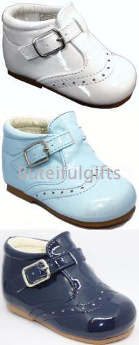 Sevva Boy/'s Spanish Patent Buckle Walking Shoe//Boot UK Infant Size 2-8