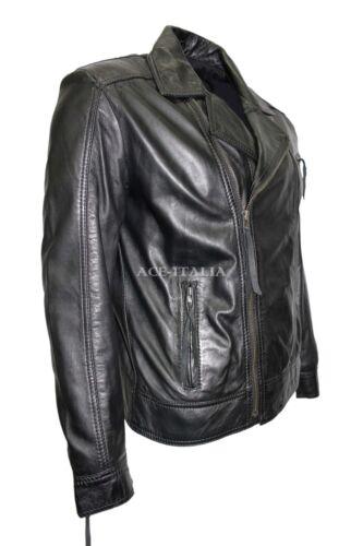 Slim Black Line Brando para italiano 2155 hombre Fit Biker Quilt de cera suave cuero Lavado de apEdqd