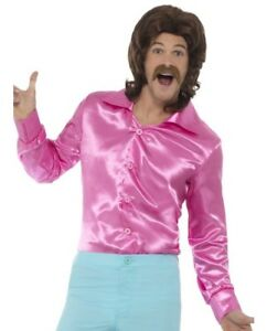 d6b5169037 Hombre Años 60 1960s 60 70 70 s Disco Brillante Camisa Disfraz rosa ...