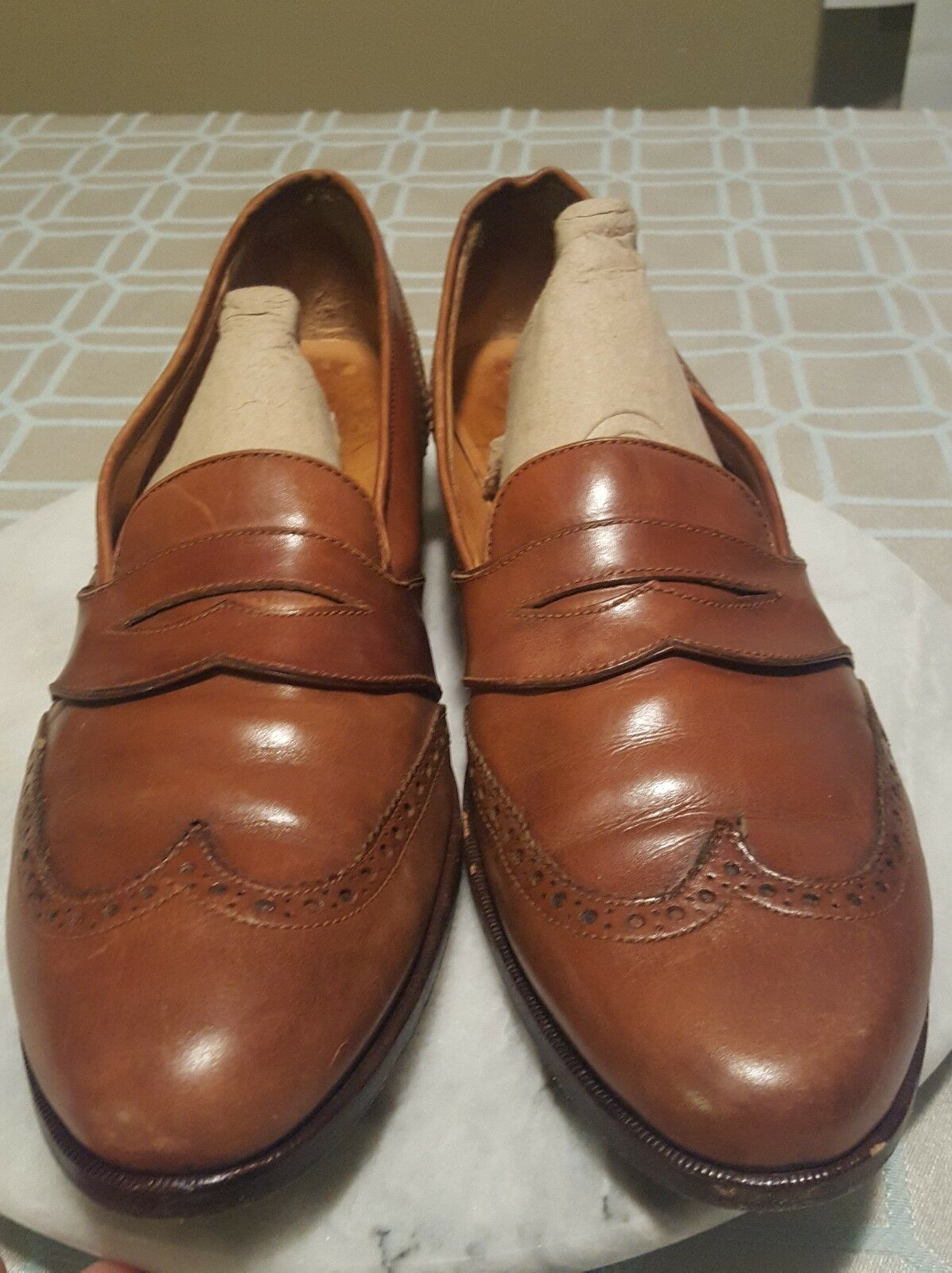 Polo by Ralph Lauren Brown Leather Slip On Dres Loafers shoes Men Size 10 Narrow