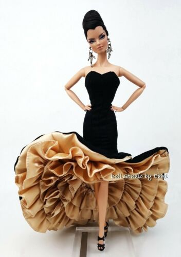 Black Gold Siren Evening Dress Outfit Gown For Silkstone Fashion Royalty Model