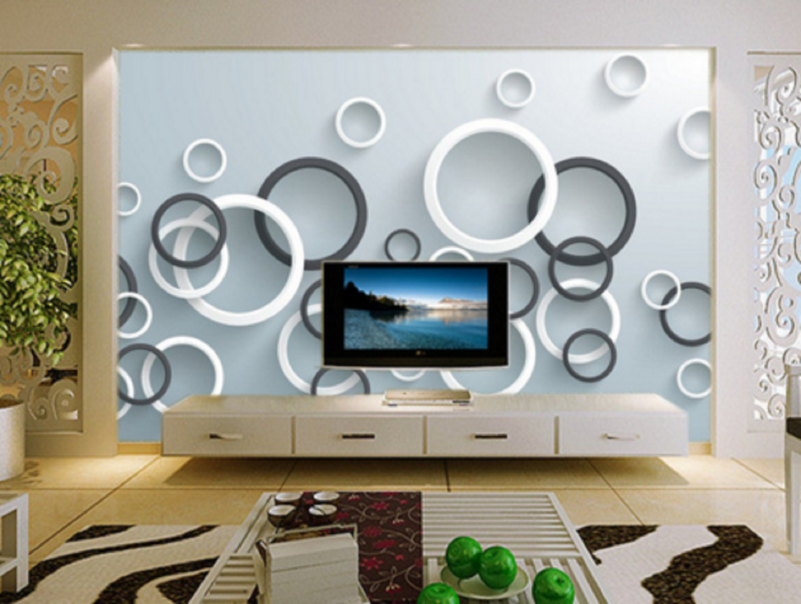 3D Round Circles 732 Wall Paper Murals Wall Print Wall Wallpaper Mural AU Kyra