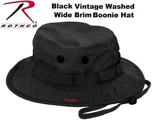 4247ea0ff56 Black Washed Vintage Military Wide Brim Boonie Hat Bush Bucket hat ...