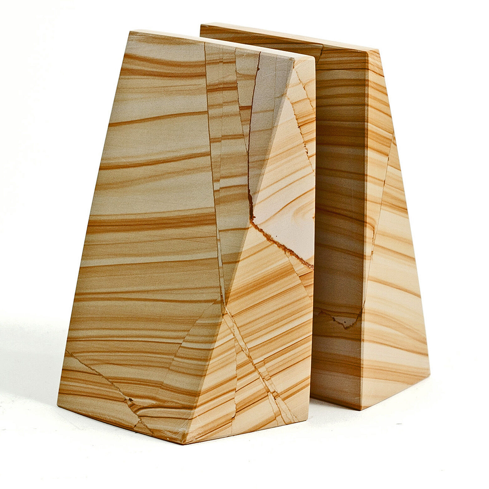 BOOKENDS -   OXFORD STREET  NATURAL MARBLE BOOKENDS