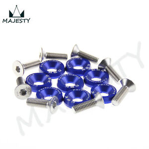 8PCS-M6-WIDE-HEX-SCREW-BOLT-BUMPER-FENDER-WASHER-ANODIZED-ALUMINUM-BLUE