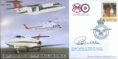 CC48b RAF Northolt Royal VIP flying Princess Diana stamp signed cover