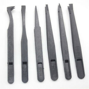 6pcs-Black-Precision-Tweezer-Kit-Set-Plastic-Anti-Static-Tool-Size-1-2-3-5-6-8