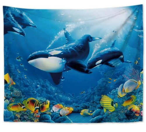 6 pieces ocean sea life wall hanging tapestries bedspread accent
