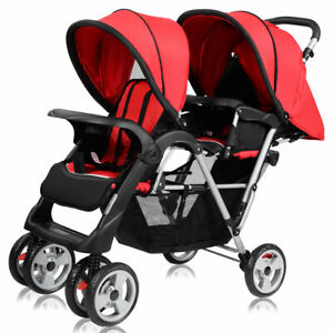 Foldable-Twin-Baby-Double-Stroller-Kids-Jogger-Travel-Infant-Pushchair-Red