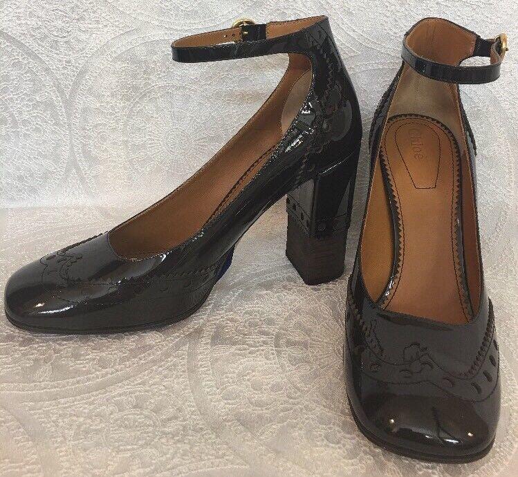 Chloe Chaussures chocolat brevet Spectator Bride Cheville Cheville Cheville Taille 40 NEUF c8bbfe