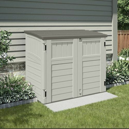 Outdoor Storage Shed Bike Garbage Can Toys Pool Tools Horizontal Utility  Cabinet | EBay
