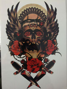 Details about Skull Swords Roses Temporary Tattoo Stickers Body Art  Waterproof Diamonds Red