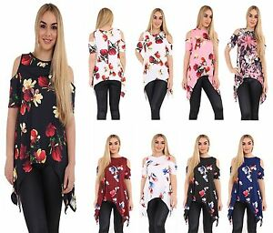 Womens-Ladies-Cold-Shoulder-Floral-Print-Short-Sleeve-Hanky-Hem-T-Shirt-Top-8-26