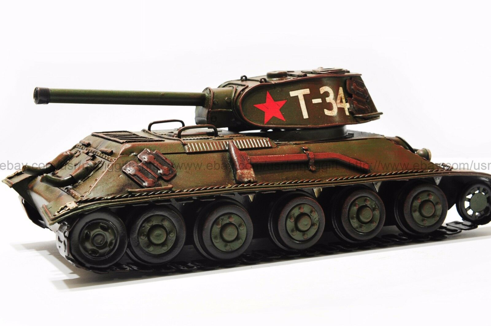 Handmade 1940 USSR T-34 TANK 1 12 Tinplate Antique Style Metal Model