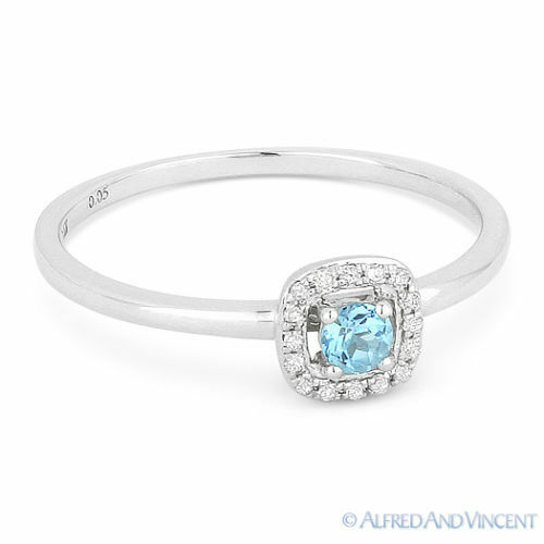 0.19 ct Round Cut blueee Topaz Gemstone & Diamond Halo 14k White gold Promise Ring